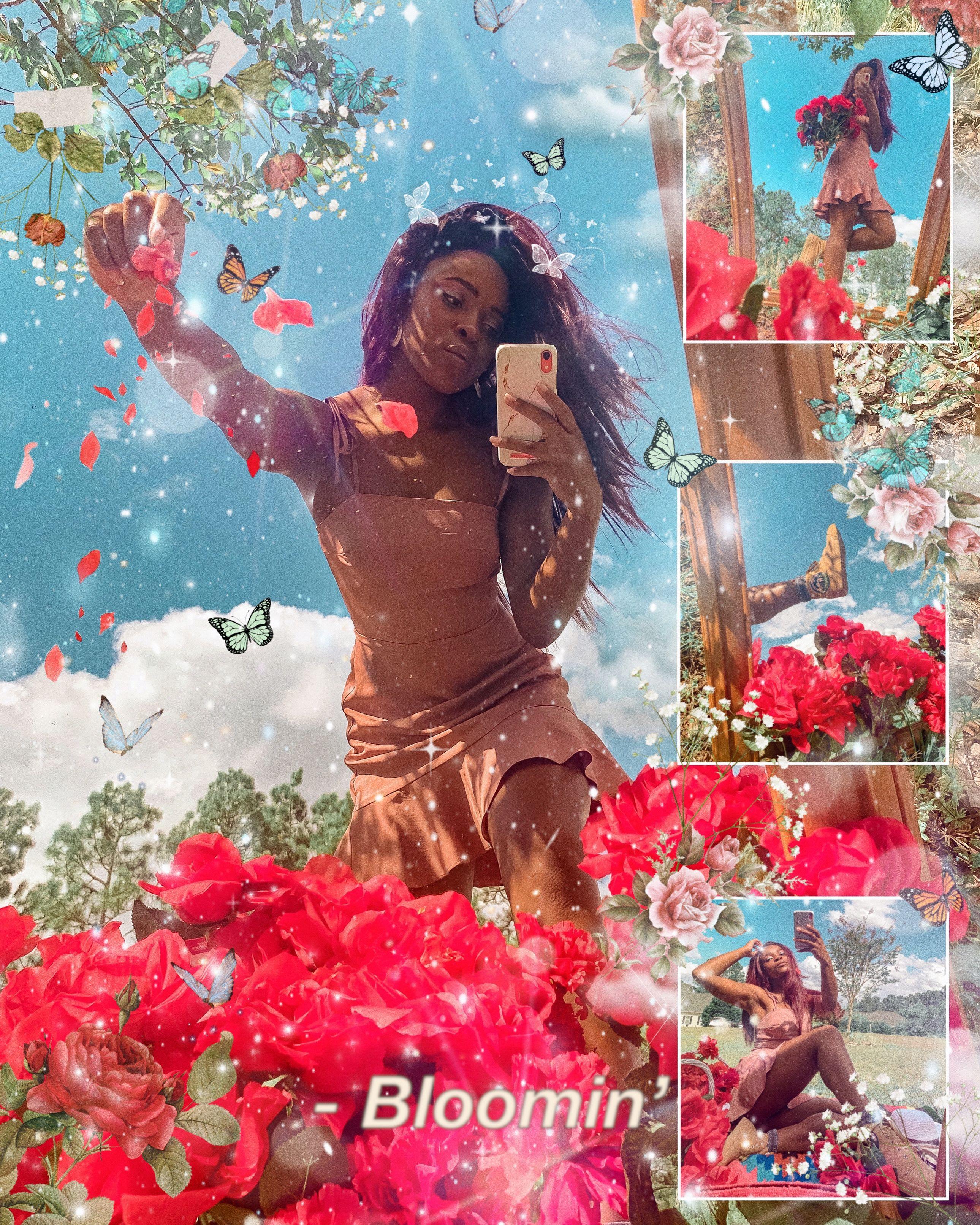 Ig Nikkipaige1396 Mirror Photoshoot Tiktok Trend In Spring Wearing Bangs Shoes Creative Photoshoot Ideas Spring Photoshoot Flower Photoshoot