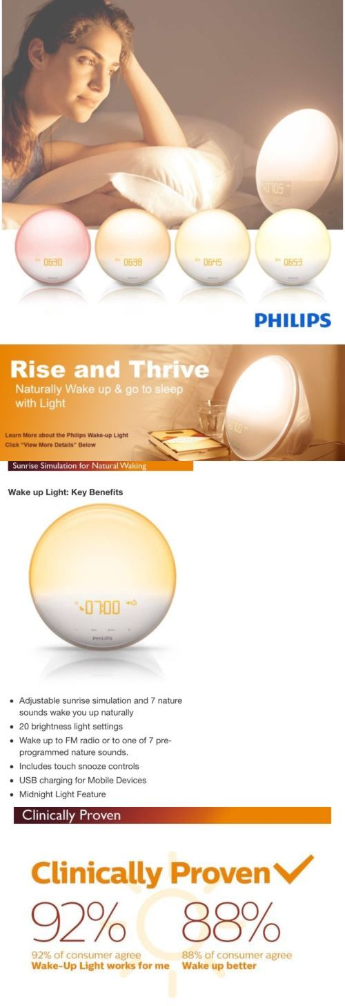 Light Therapy Devices: Philips Wake Up Light Colored Sunrise 7 Sounds  Midnight Light Fm Radio