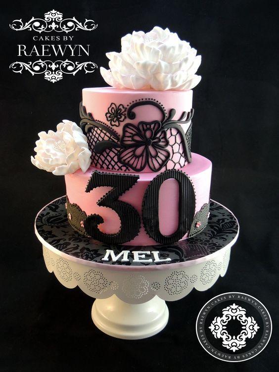 Beautiful Peony And Black Lace 30th Birthday Cake