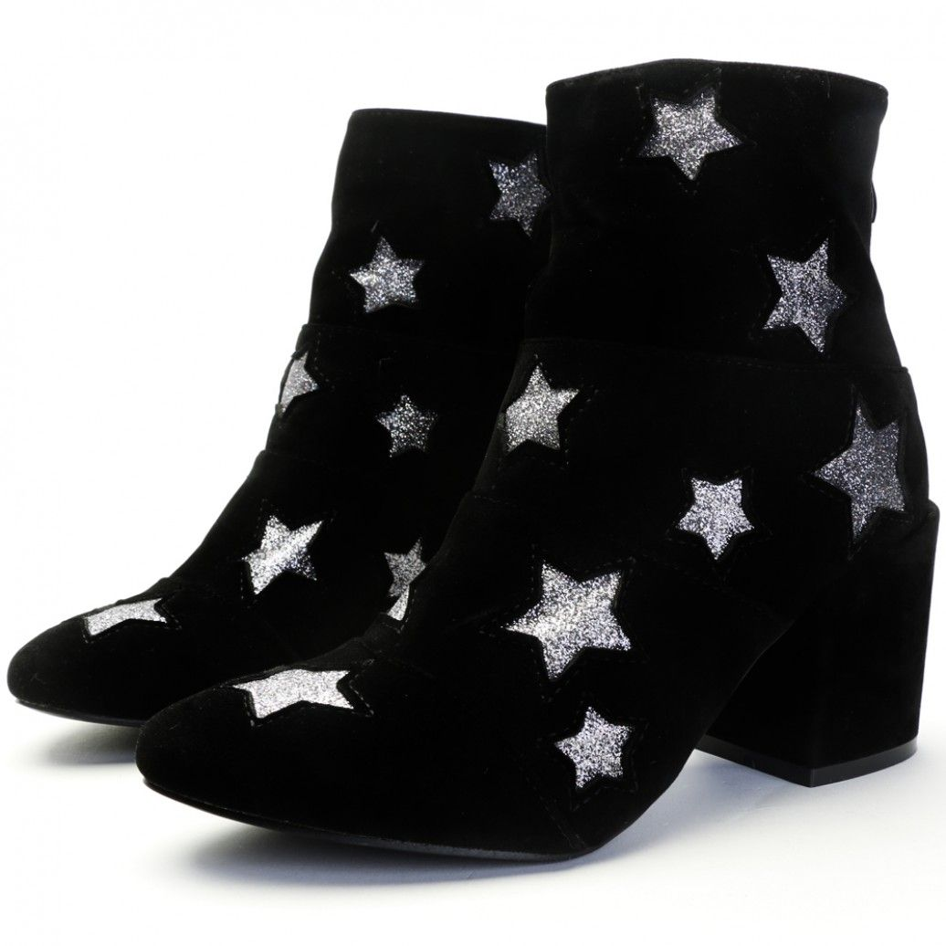 acc30859e0c Hellen Glitter Star Ankle Boots in Black Faux Suede