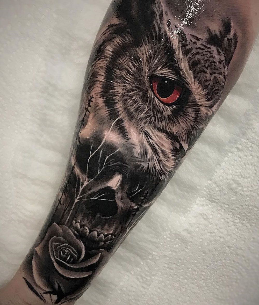 Lion Morph Tattoo: Tattoos, Owl Skull Tattoos Et