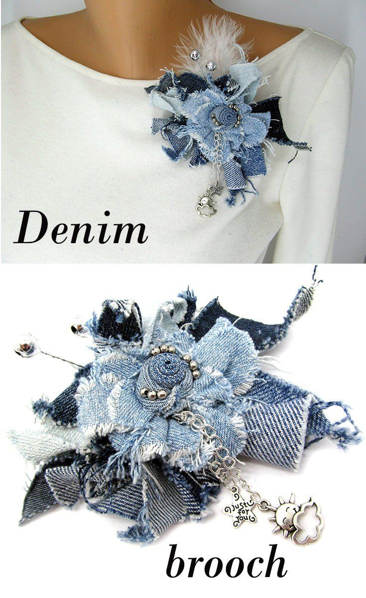 Denim brooch Jeans brooch Denim flower brooch Blue fabric