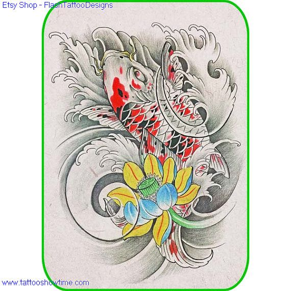 Koi & Flower Tattoo Design 25 for you on Etsy. Top quality high resolution color design, with tattoo stencil outline. Instant download only $1.95. Get the body art you deserve. Many other designs.