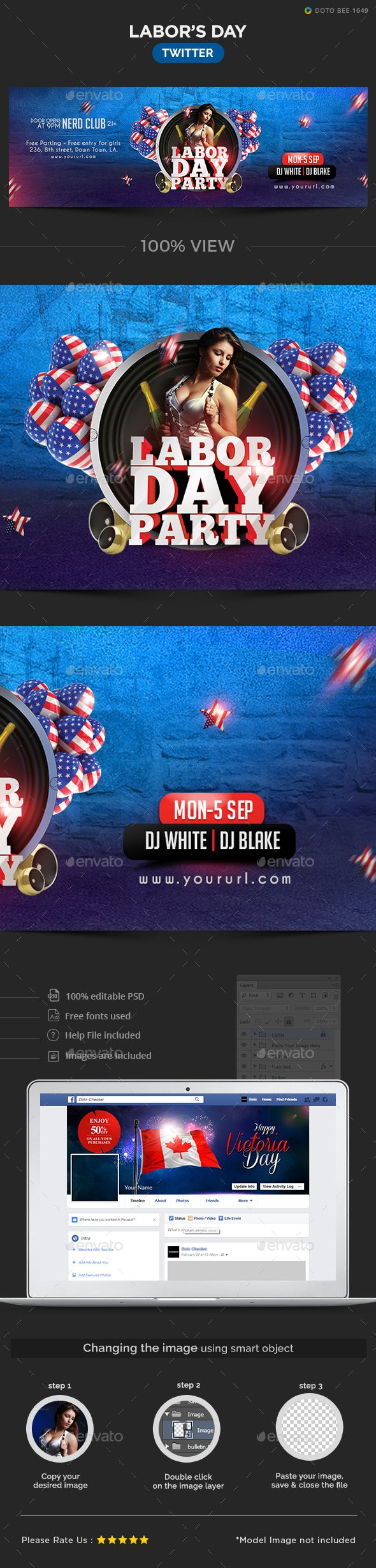 Labor Day Party Twitter Header Template Psd Download Here Https