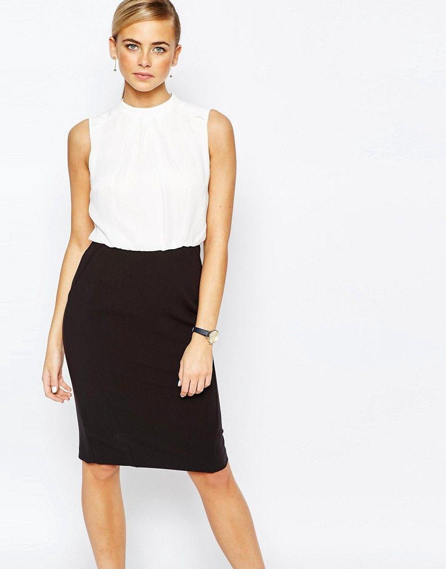 Cool Oasis Colour Block Pencil Dress - Black Oasis Pencil Kjoler til Damer i behagelige materialer