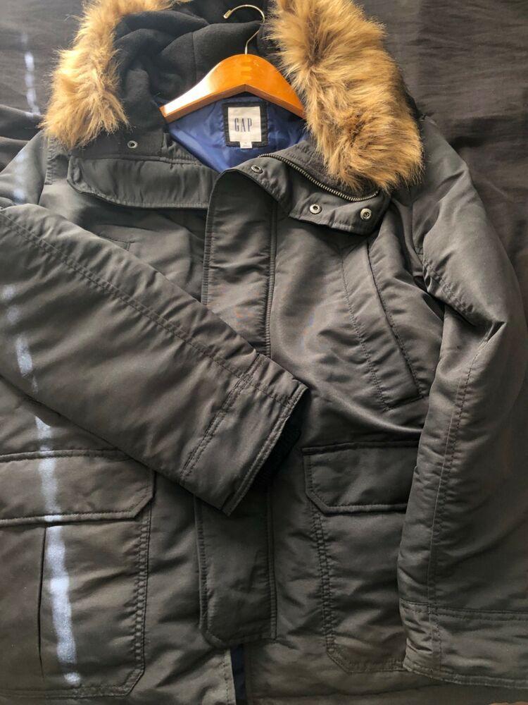 e943f1c75 GAP Men Black Snorkel Parka Jacket Coat Faux Fur Hood Warm (M ...