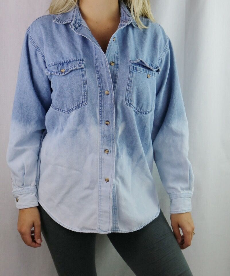 a8b7faa95e Custom designed Dip Bleached denim Flannel. Perfect for fall! Edgy, and  grungy outfit ideas. DIY distressed shirt.