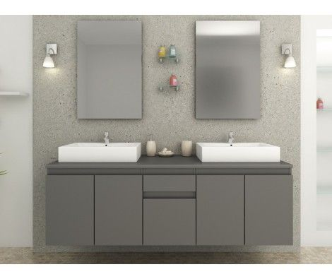 Meuble de salle de bain double vasque intégré Gris Mat Salle de