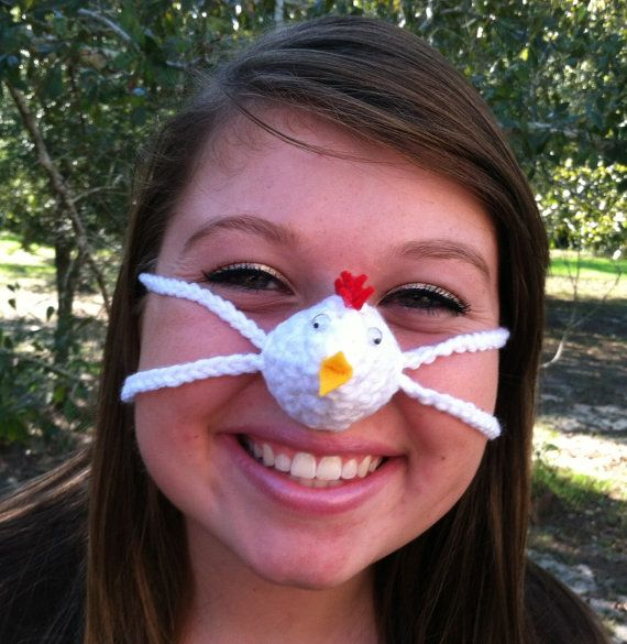 White Chicken Nose Warmer Nose Cozy Crocheted Tween Teen Adult