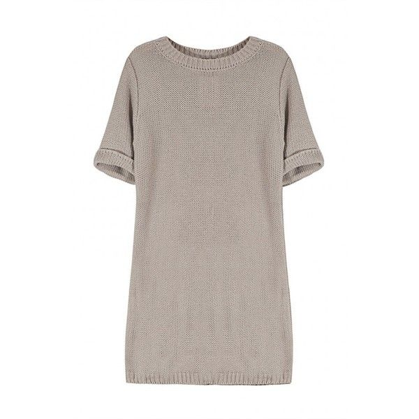 Yoins Sweater Dress with Cut Out Back (115 BRL) ❤ liked on Polyvore featuring dresses, tops, vestidos, yoins, shirts, grey, cutout back dresses, cut out back dress, sleeved dresses and round neck dress