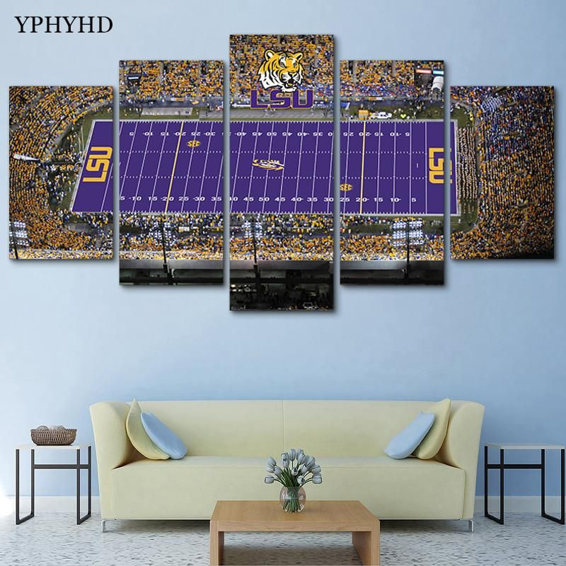 Yphyhd Canvas Painting 5 Piece Lsu Tigers Stadium Canvas Painting Print Poster Frame Wall Art Modern Modular Wall Painting Decor Yesterd Home Decor Poste