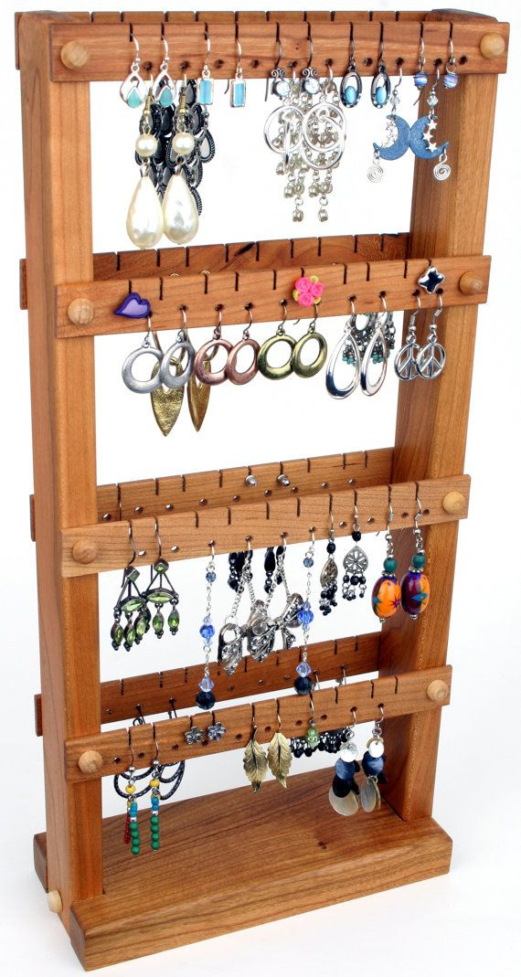 Jewelry Organizer Cherry Wood Earring holder Stand Gifts