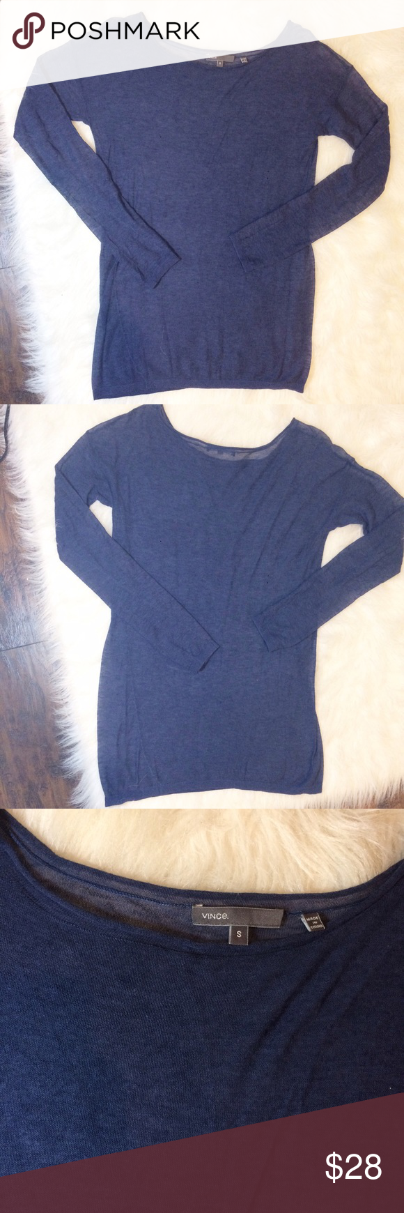 Vince. Sheer long sleeve shirt Lightweight and Sheer long sleeve shirt by Vince. Super soft and very comfortable! Very small snag on bottom, shown in photo. Almost unnoticeable, especially if worn under a cardigan! Size small. No care tag. No trades, offers welcome. Vince Tops Tees - Long Sleeve
