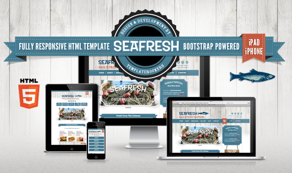 "DELIMONDO SEAFRESH FULLY RESPONSIVE HTML TEMPLATE DOWNLOAD  ""Delimondo"" Seafresh Restaurant Template is built upon bootstrap framework and is fully responsive.   It adapts to window resolution and looks fantastic on all devices including ipad and iphone."