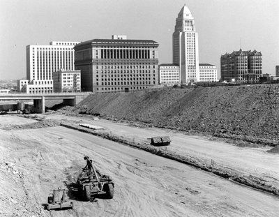 Hollywood Freeway Under Construction In The Background Is Hall Of Justice And Los Angeles
