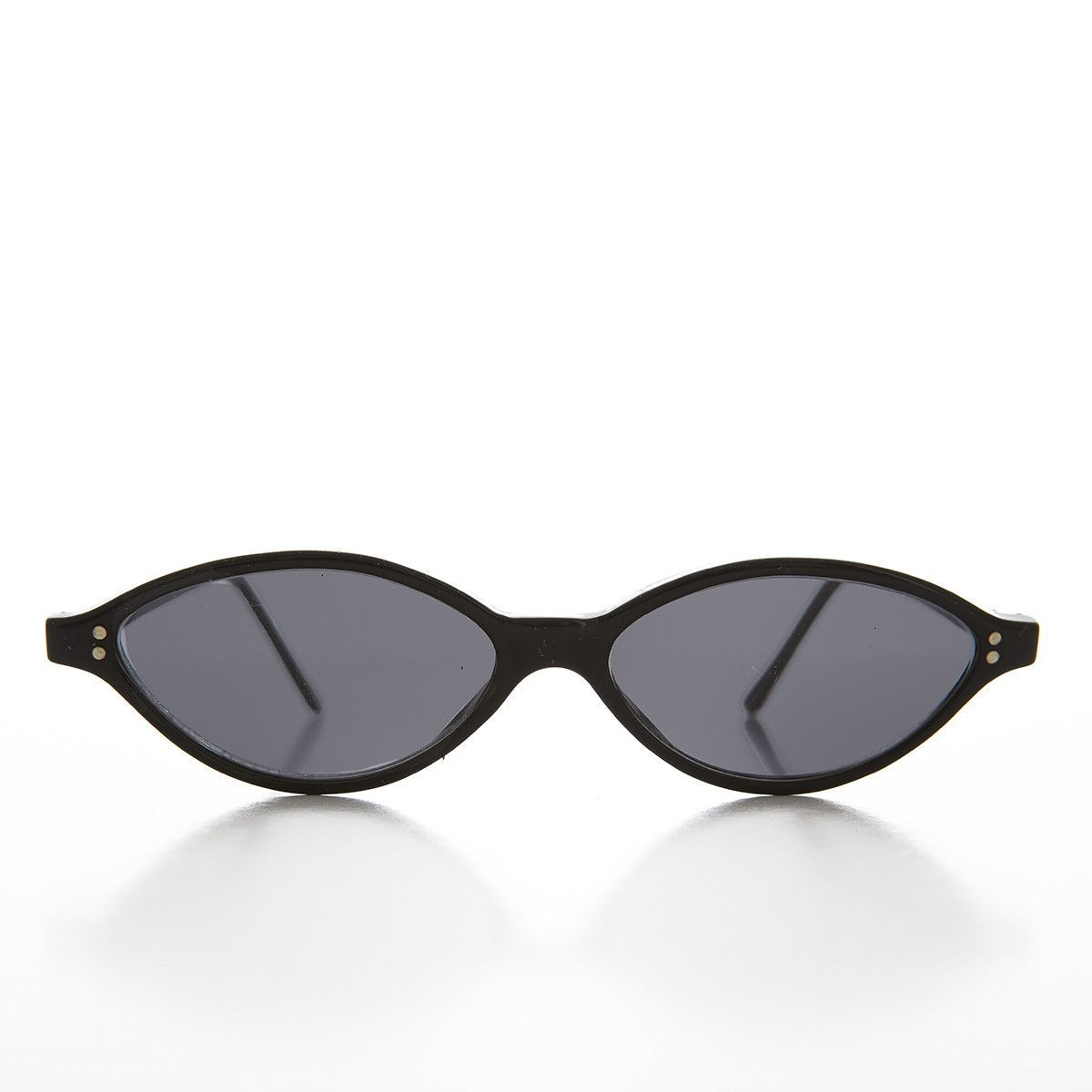 f17c6b96197a Sleek and distinct these stylish cat eye sunglasses feature oval shaped  lenses with dual frame end rivets. Made from acetate and metal hinges and  optically ...