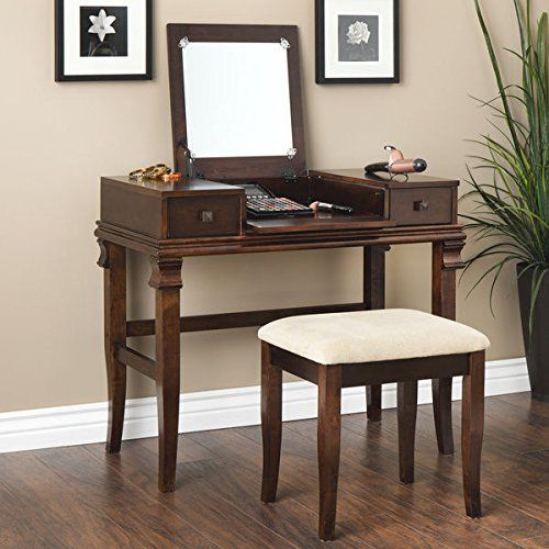 Oh Home Ariana Beautification Set Brown Vanity Table Stool Flip Top Mirror  *** Check