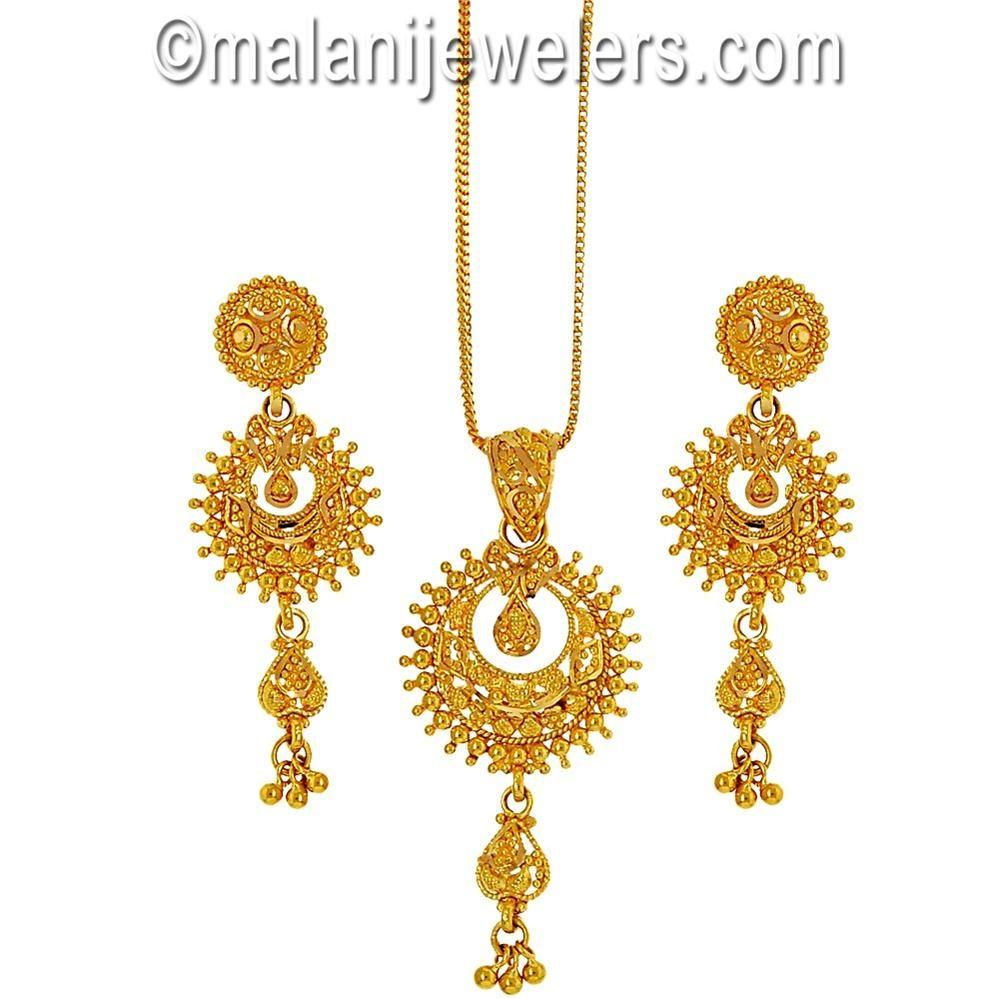 karat gold sizzling pendant set sku