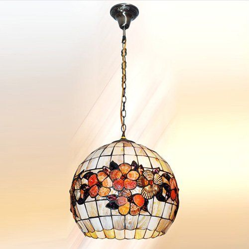 Lightinthebox 14 inch tiffany style tiffany style cylindrical shape natural shell material pendant light