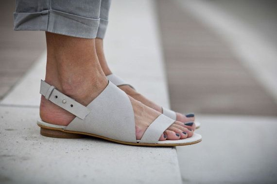e36bd887d2aec NEW, Strappy Sandals, Grey Sandals, Leather Sandals, Grey Summer ...