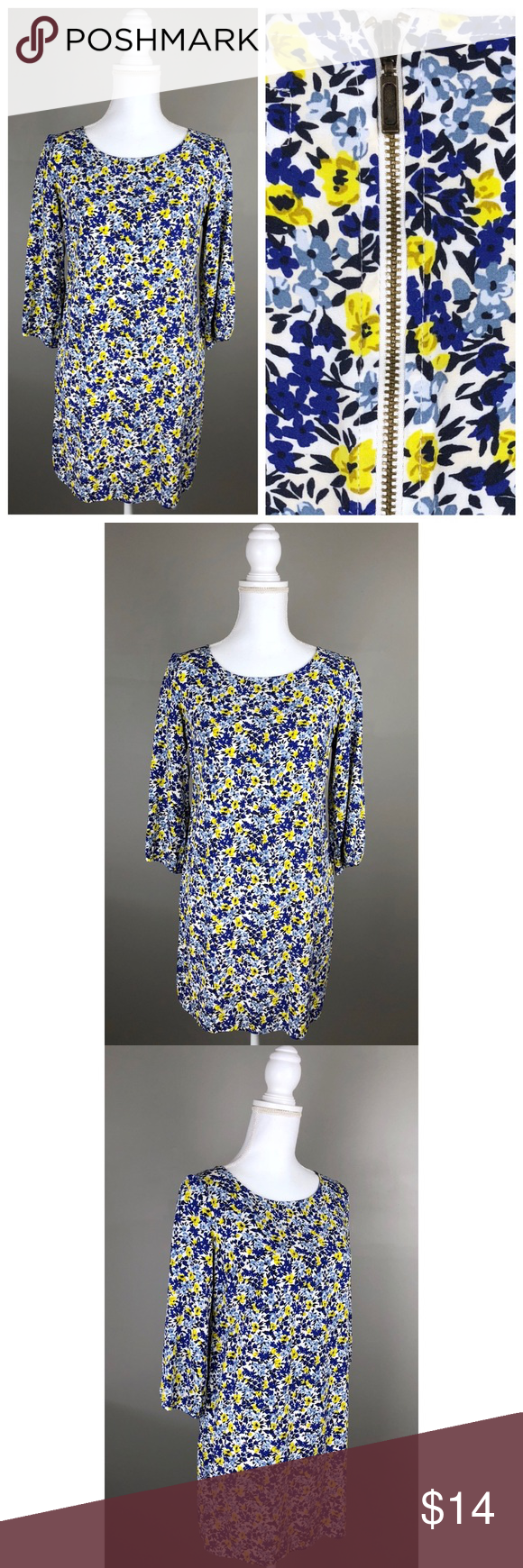 Euc old navy floral spring shift dress yellow blue flaws navy and