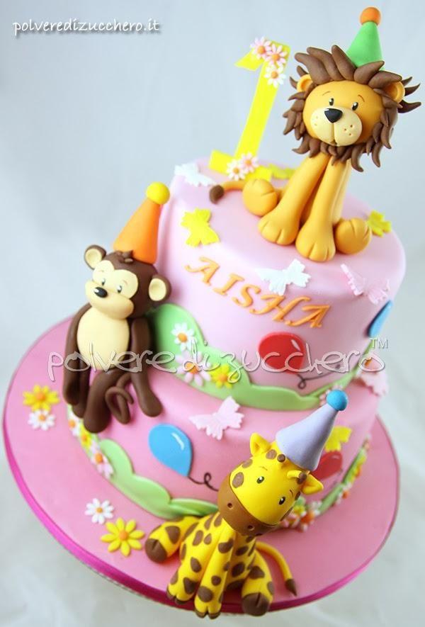 Torta per il 1 compleanno di una bimba gli animali della - Colorazione pagina della torta di compleanno ...