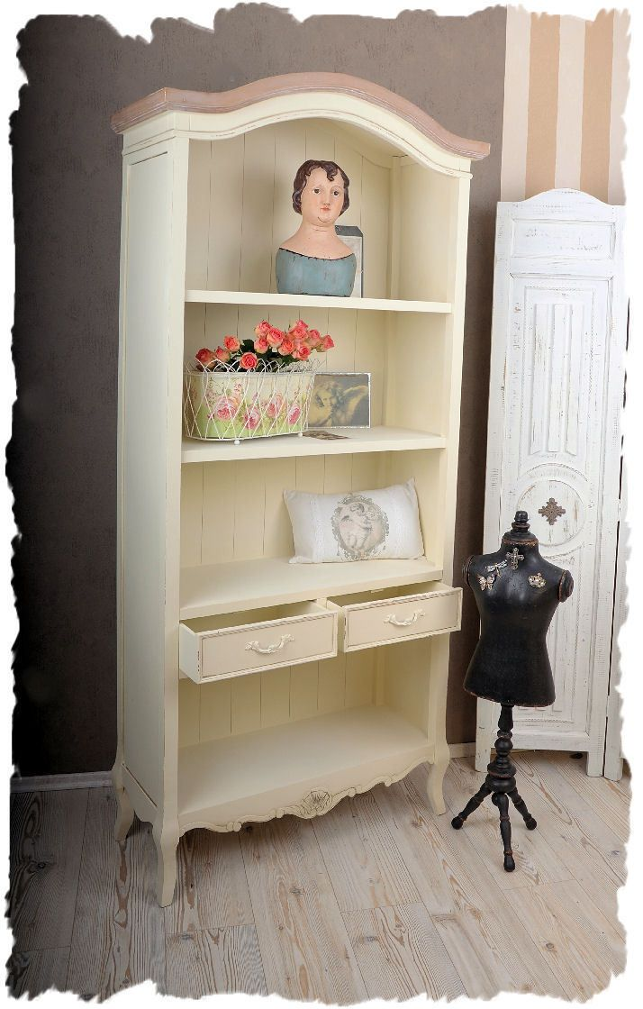 nostalgie b cherregal shabby chic regal weiss k chenregal. Black Bedroom Furniture Sets. Home Design Ideas