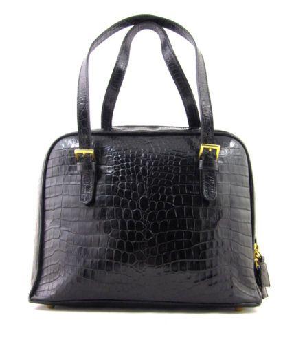 Vintage Talbots Black Leather Structured Croc Embossed Purse Bag Handbag Shiny