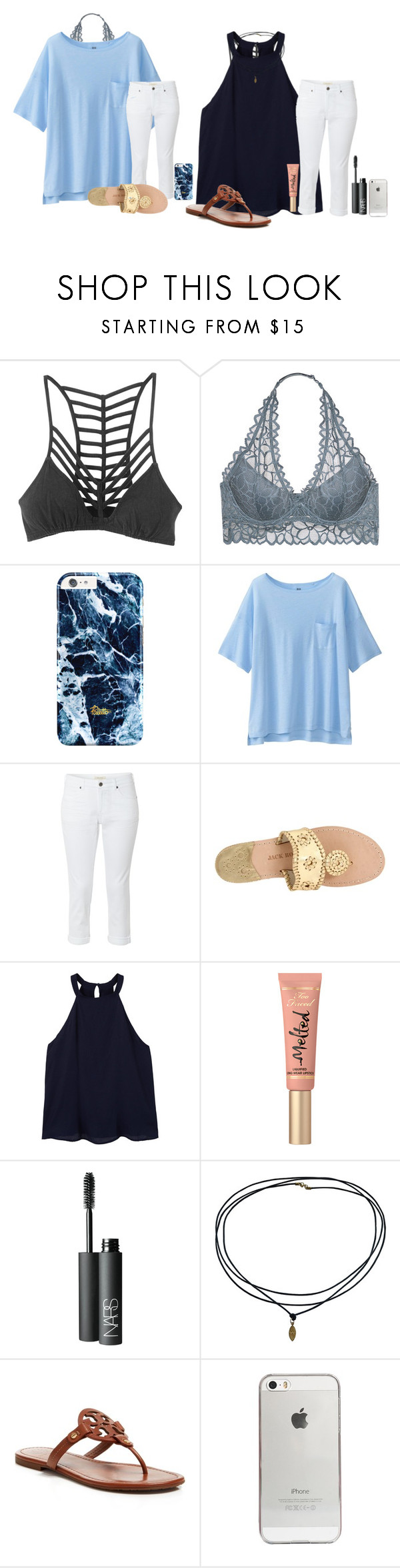 68c7da48e9 by madeleineds ❤ liked on Polyvore featuring RVCA, Victoria's Secret,  Uniqlo, White Stuff, Jack Rogers, MANGO, Too Faced Cosmetics, NARS  Cosmetics, Tory ...