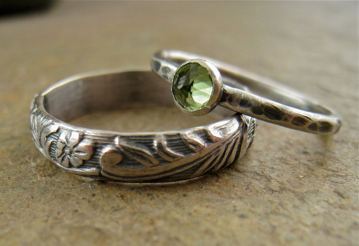 wedding of new engagement gold rings peridot rose