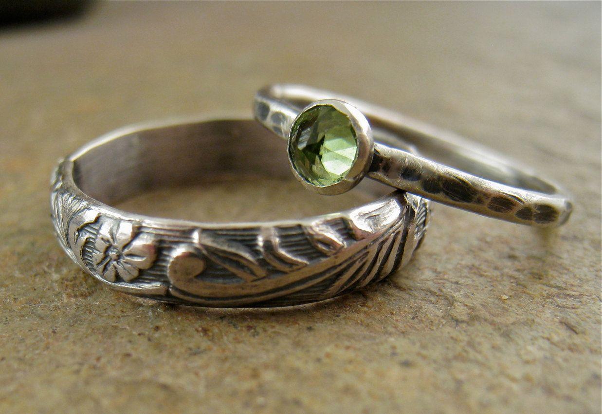 Sterling Silver Peridot Wedding Bands Ring Set Flower Silver Band Peridot Jewelry Nature Botanical Engage Peridot Engagement Rings Peridot Jewelry Peridot Ring