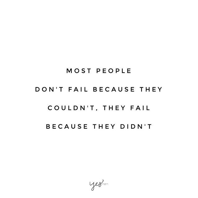 Most people don't fail because they couldn't, they fail because they didn't. You CAN do it if you don't give up! This is the reason why I started @Reese || Female Empowerment Entrepreneur. So many people have big dreams, and they don't achieve them. The reason? It's not because they weren't good enough, didn't have the money, or the time. Go for it I believe in you. For more inspiration, motivation, and tips for ambitious entrepreneurs www.yessupply.co