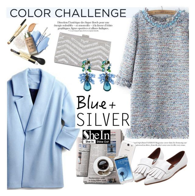 """""""Rock This Look: Blue and Silver"""" by helenevlacho ❤ liked on Polyvore featuring Samsung, contestentry, colorchallenge and blueandsilver"""