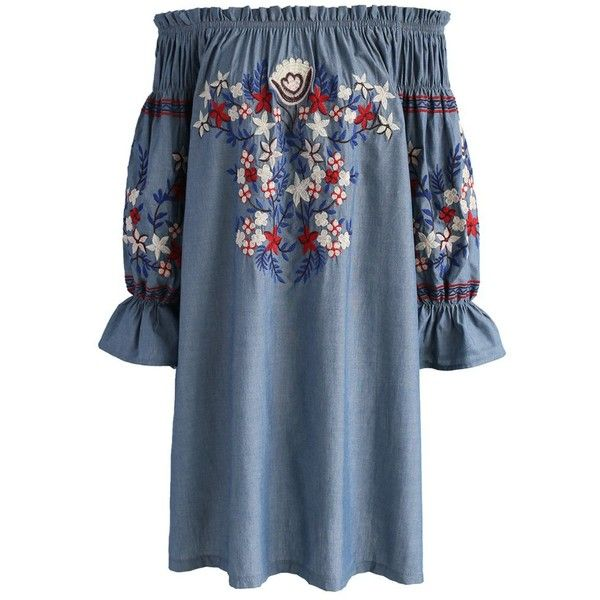 Chicwish Embroidery for Romance Off-shoulder Denim Dress (€46) ❤ liked on Polyvore featuring dresses, blue, off the shoulder dress, blue off the shoulder dress, off shoulder denim dress, embroidered denim dress and denim dresses