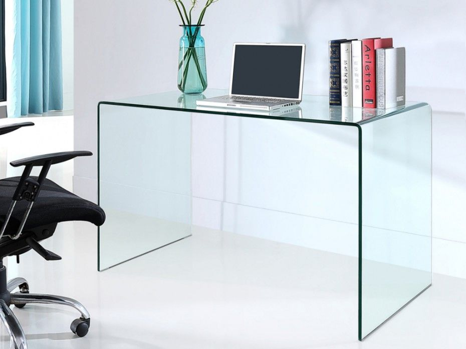 Bureau verre trempé bureau elstron verre tremp 12mm transparent 120