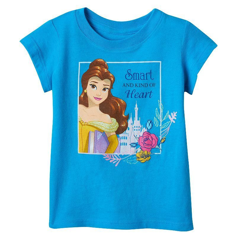 """Disney's Beauty & The Beast Belle Toddler Girl """"Smart And Kind Of Heart"""" Tee, Size: 3T, Turquoise/Blue (Turq/Aqua)"""