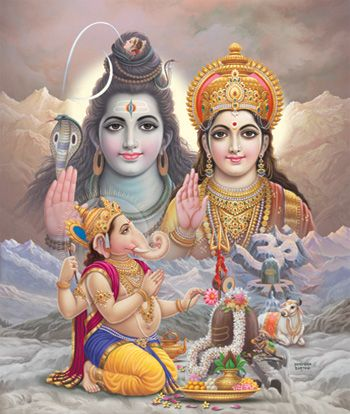 Lord Ganesha Worshiping His Parents Lord Shiva Painting Shiva Art Lord Shiva Family