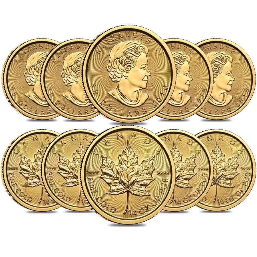 Lot Of 10 2016 1 4 Oz Canadian Gold Maple Leaf 10 9999 Fine Bu Sealed Gold Bullion Coins Gold Bullion Buying Gold