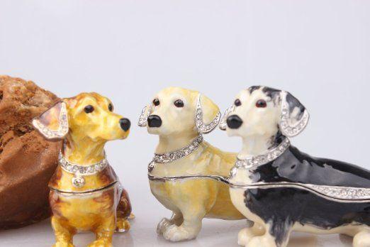 Dachshund Dog Bejeweled Trinket Box Dachshund Dog Figurine Czech