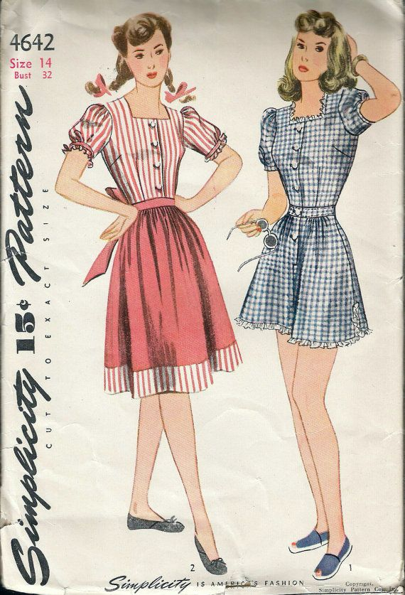 Vintage 1943 WWII Simplicity 4642 Women\'s Playsuit & Skirt Sewing ...