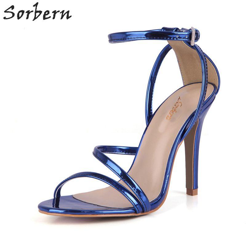 3cfbbaae8a Barato Sorbern Azul Royal Aberto Sandália Do Dedo Do Pé Para As Mulheres  sapatos de Salto