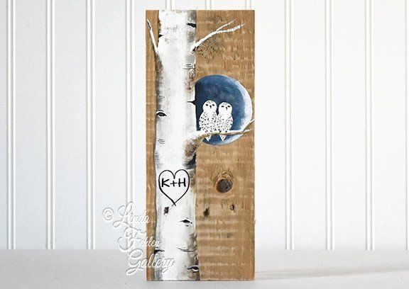 Snowy owl on winter birch tree painting