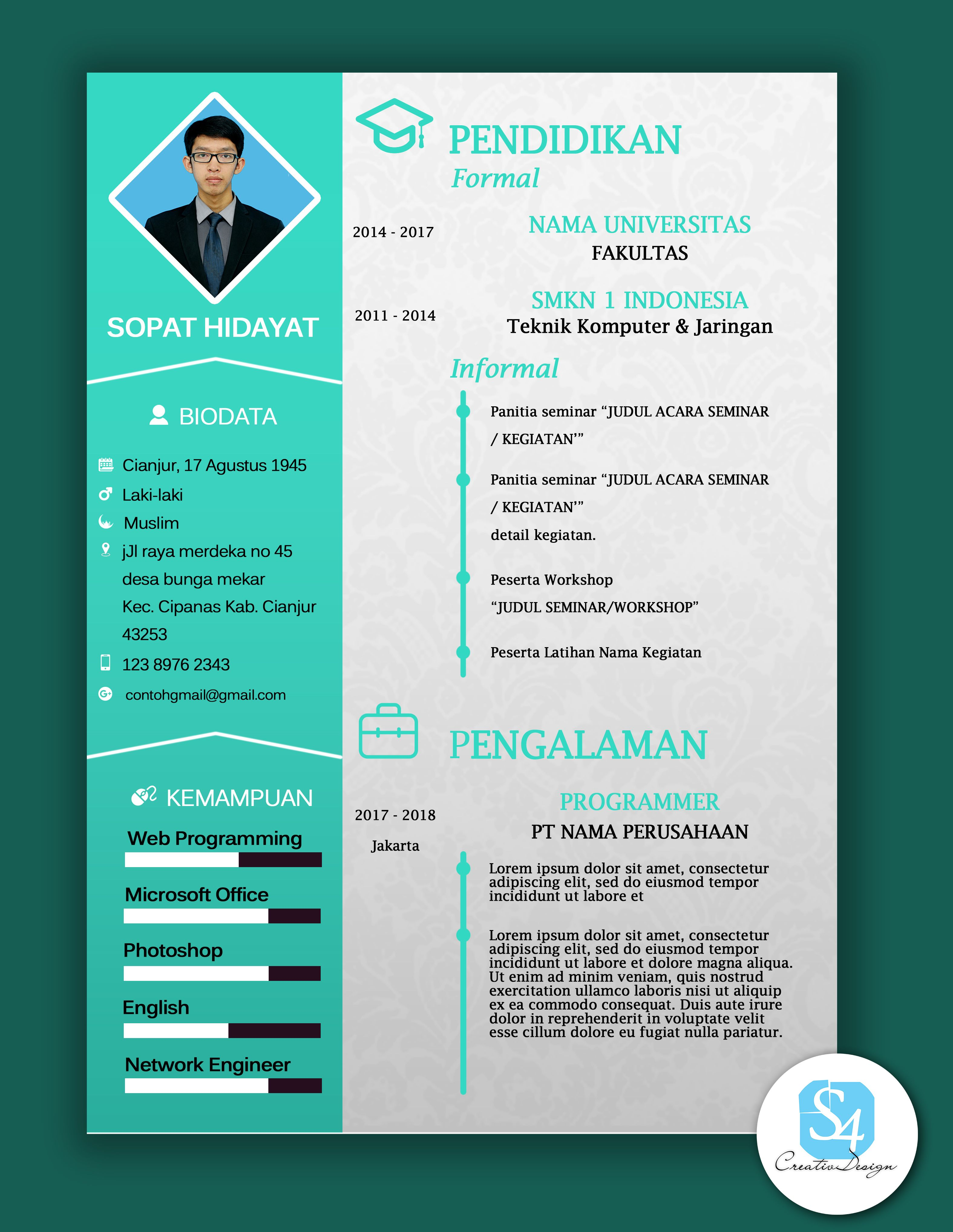 Resume Cv Design Template With Green Color Create Creative And Profesional Design Template With Photoshop Teknik Komputer Teknik Pendidikan