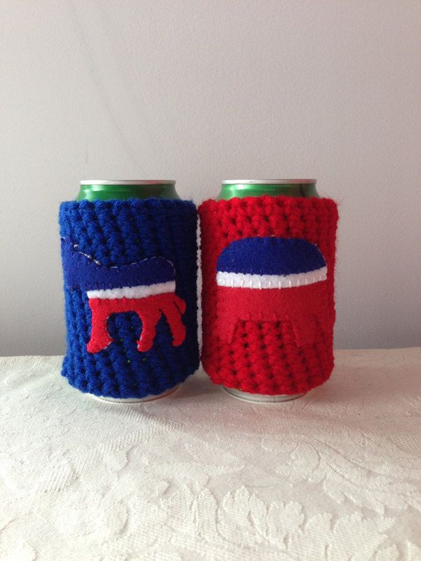 Republican Democrat Crochet Beer Koozie Set By Maroozi On Etsy