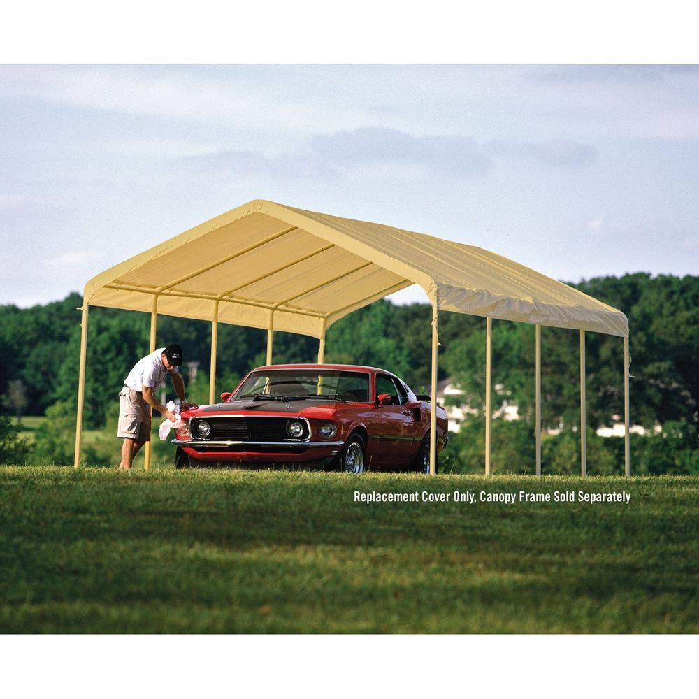 12 X 26 White Canopy Replacement Cover Fits 2 Frame Car Shelter Wedding Pop Shelterlogic Car Shelter Canopy White Canopy