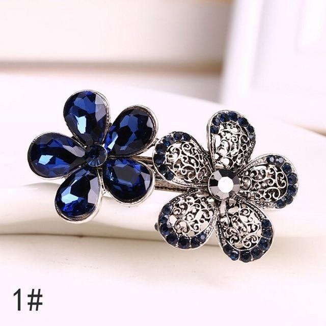 Vintage Women Crystal Rhinestone Hair Clip Flowers Hairpin Bow Knot Barrette