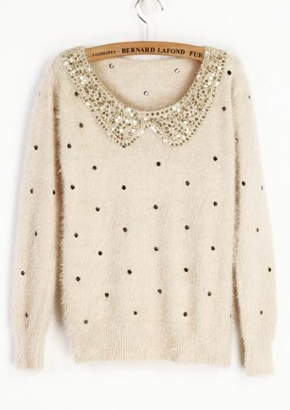 Ivory Vintage Polka Dot Sequins Collar Fluffy Jumper Sweater | On ...
