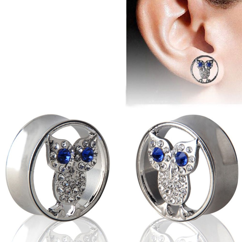 Body piercing jewelry  New Arrival Owl Double Flares L Stainless Steel Ear Guage Plug