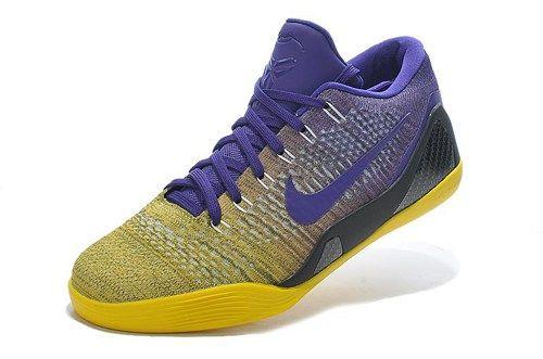 677992 993 Kobe 9 Elite Low Purple Yellow Basketball Shoes