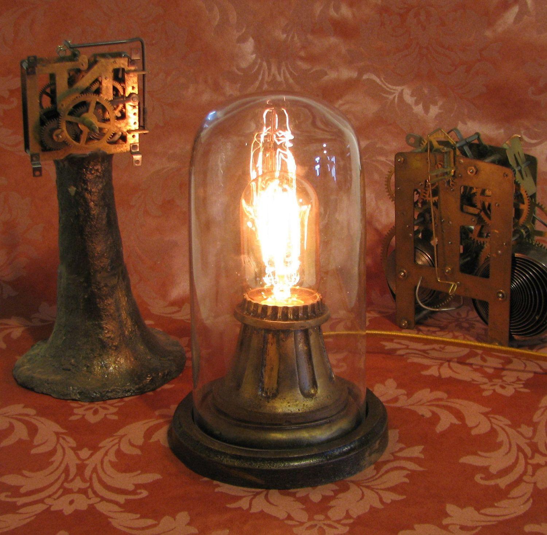 Victorian night lamps - Art Deco Desk Lamp Vintage Antique Night Light Victorian Nightlight Steampunk Lamp Steam Punk Light Dome